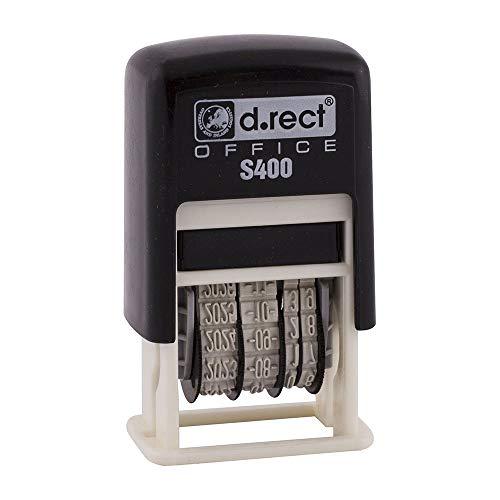 D.RECT ISO S400 Stempel, Datumstempel klein in Stempelfarbe schwarz für Büro, Lehrer und Rechnung mit Datum selbst gestalten Büro Zubehör | 4mm Jahr/Monat/Tag