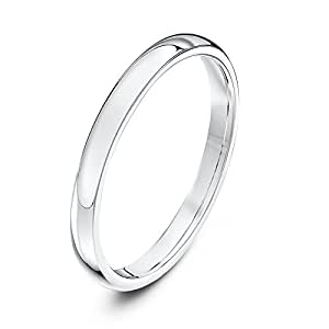 Theia Unisex Super Heavy Court Shape Polished 9 ct White Gold 2 mm Wedding Ring - Size H