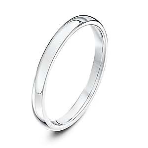 Theia Unisex Super Heavy Court Shape Polished 9 ct White Gold 2 mm Wedding Ring - Size N