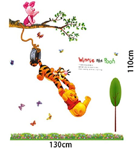 Wandtattoo Wandaufkleber Wandsticker Winnie Pooh der Bär und Tiger Kinderzimmer 130 x 110 W033 Viwaro