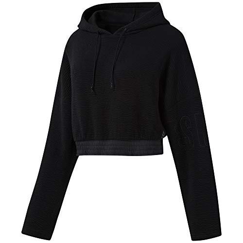 Reebok Damen Lm Lightweight Hoodie Sweatshirt, Schwarz, XL Damen Lightweight Hoodie