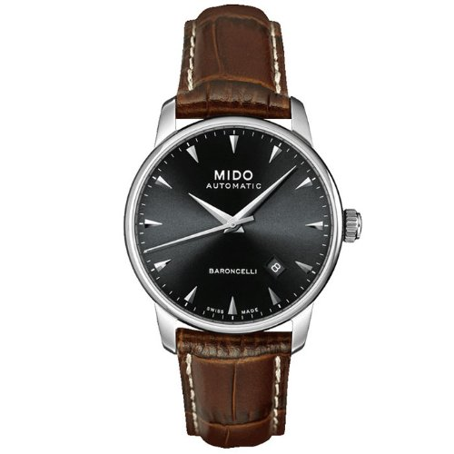 Mido Men's Baroncelli 38mm Brown Leather Band Steel Case Automatic Black Dial Analog Watch M8600.4.18.8