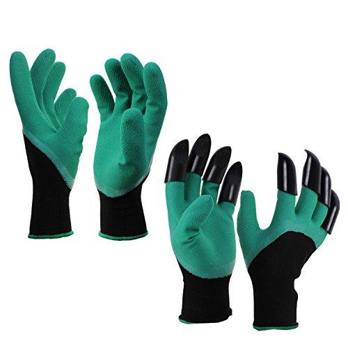 KEESIN Gartenhandschuhe Schutz Gartenarbeit Arbeitshandschuhe Eine Hand mit Robusten Krallen für das Graben Pflanzen 2 Pairs