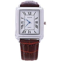 Yileiqi Unisex Men's Women's Silver Bezel White Face Rectangle Dial Brown PU Leather Strap Watch Analog Quartz Hook Buckle Clasp Extra Battery