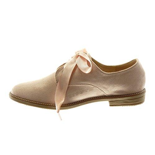 Angkorly Damen Schuhe Derby-Schuh - Schick - Schnürsenkel Aus Satin - Nieten - Besetzt - Glänzende Blockabsatz 2.5 cm Hellrosa