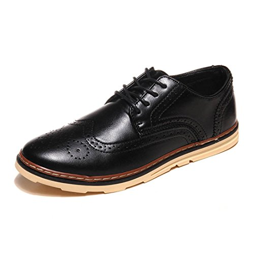 Men's PU Leather Lace Up Formal Shoes Black