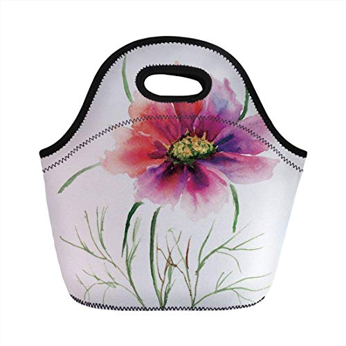 Portable Bento Lunch Bag,Watercolor,Beautiful Two Colored Flower Blossom Nature Spring Revival of Life Decorative,Fuschia Red Dark Green,for Kids Adult Thermal Insulated Tote Bags