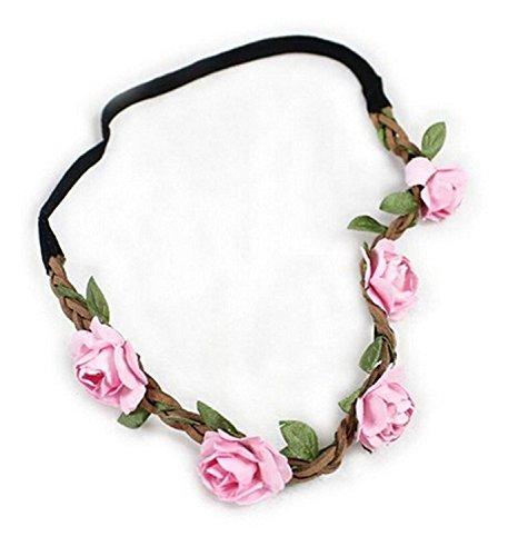 Garland Blume Crown Hippie Love Hochzeit/Festival Haarkranz mit Blumen, BOHO-Stirnband, Rosa, Einheitsgröße (Blumen-stirnband Crown)