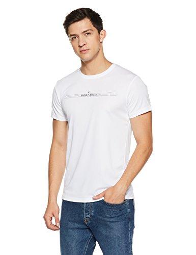 Peter England Perform Men's Plain Round Neck T-Shirt (CKC318005649_White_Medium)