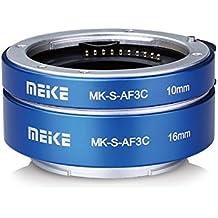 meike mk-s-af3c metall autofokus makro verlängerung adapter für sony e-mount ring 10mm 16mm - kamera den mirrorless a7 a7m2 nex3 mex5 nex6 nex7 a5000 a6000 a6300 a6500 a9 usw. (blau)
