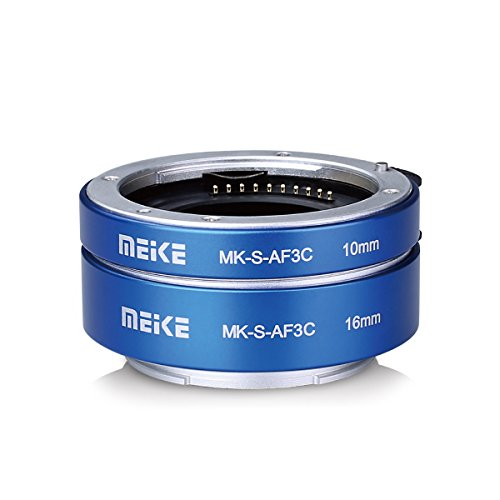 Meike MK-S-AF3C Metal Auto Focus Macro Extension tube Adapter Ring 10mm 16mm für Sony E-Mount Mirrorless Camera A5000 A6000 A6300 A6400 A6500 etc Blue Digital Extension Tube Set