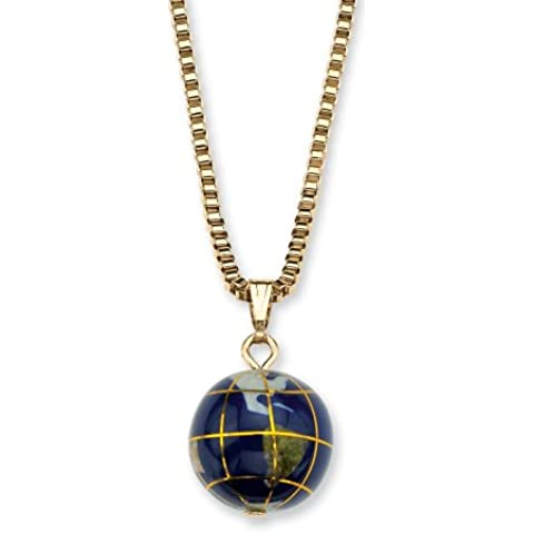 Imitación Azul Lapis mosaico de tono de oro amarillo redondo globo colgante collar 18