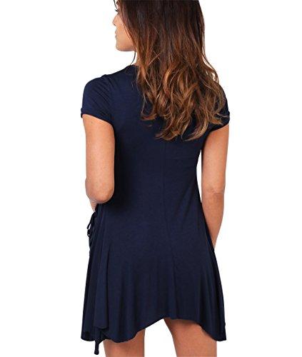 KRISP® Femmes Tunique Unie Robe 2 en 1 Avec Collier Bleu marine (3984)