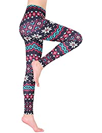 AMORETU Womens Stretch Multicoloured Printed Xmas Snowflake Leggings Pants