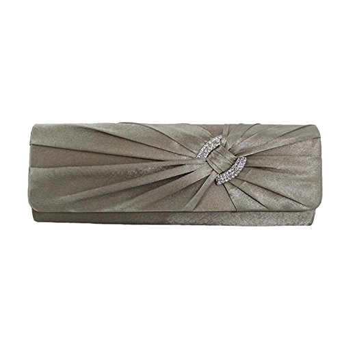Zarla - Borsetta da signora, con chiusura a scatto, pochette di raso portabile a tracolla, borsetta da sera ideale per feste nuziali Khaki