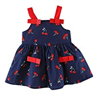Axong Toddler Baby Girl 6M-24M Strap Cherry Print Pleat Party Princess Dress Clothing White
