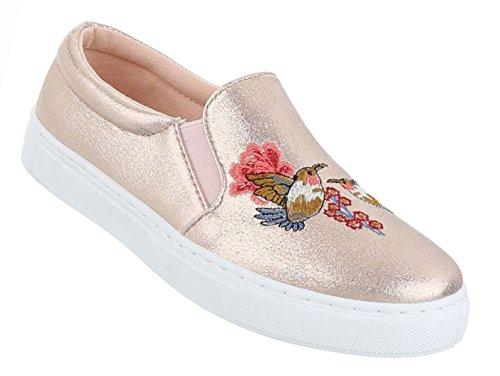 Damen Schuhe Halbschuhe Slipper Freizeitschuhe Schwarz Rosa