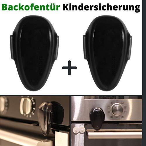 Backofentür Kindersicherung, 2er Set Ofentür Sperre zum Kleben, mit Doppel-Druck-Knopf, spezieller hitze-resistenter Kleber, universal verwendbar auf glatten Oberflächen, Rückstand-los entfernbar