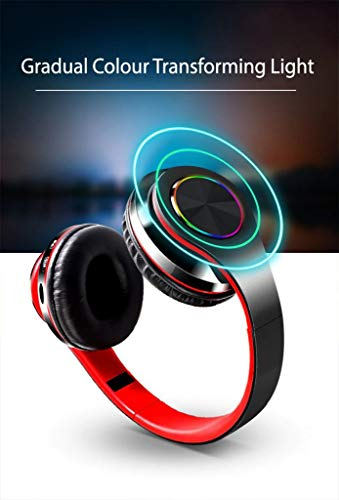 i-Tronixs Bluetooth Headset 5.0 für Nokia Lumia 730 Dual SIM Over-Ear Klappkopfhörer, HD-Sound, kabellose und verkabelte Kopfhörer, Schwarz/Rot