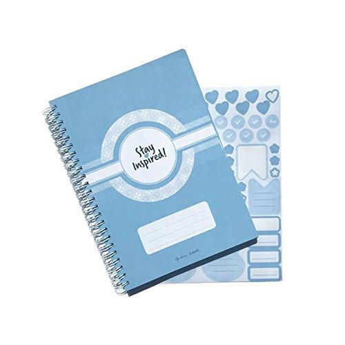 Terminplaner, Wochenplaner, Terminkalender 2019, DIN A5 Wochenkalender und Taschenplaner in blau mit Extra-Seiten für Geburtstage, ToDo Liste, ... Sticker und Box. Stay Inspired by Lisa Wirth