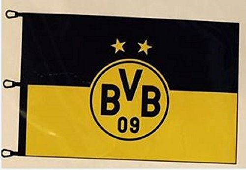 Borussia Dortmund BVB 15131000 Hissfahne 150x100cm mit Logo Schwarz/gelb 150 x 100 x 1 cm