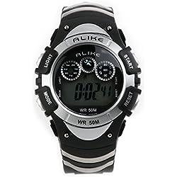 Pixnor ALIKE AK5106 50M Waterproof Sport Students Digital Wrist Watch with Date /Alarm /Timer /Night Light (Silver)