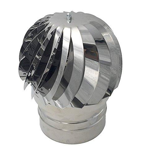 Comignoli girevoli, Cappello eolico per camini in acciaio inox, Base tonta (Ø 250 cm)