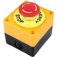 soccik Interruptor emergencia de interruptor Push Button Impresión teclas Interruptor emergencia Detener Button schalten Push Button Cambiar presionar botón plástico caja Hard Red