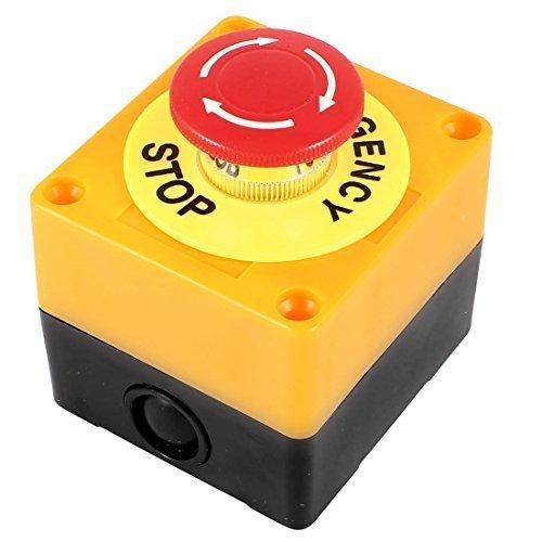 Botones a presión para interruptor de emergencia Push Button interruptor 10A AC plástico caja de hard Red acoplador de corriente: 10A Voltaje: 37V 440V ángulo de LED de color: rojo Diámetro de los agujeros: 4.3mm Tamaño: 76x 70x 65mm (Longitu...