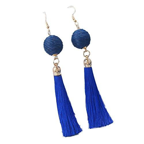 YAZILIND lange Quaste baumeln Ohrringe Mode Laterne Garn Ball Angelhaken Boho Schmuck (blau) (Laterne Boho)