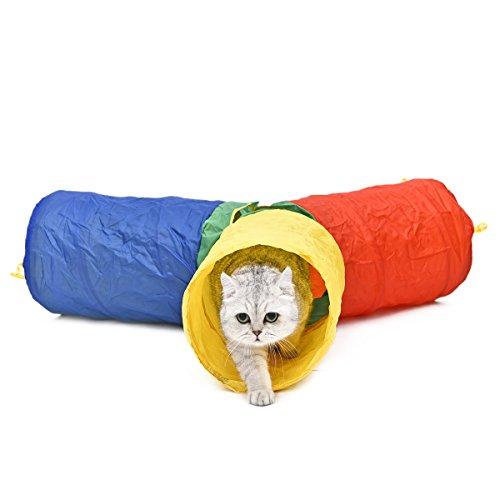 Speedy-Pet-Pawz-Strada-Pet-giocattolo-gatto-Tunnel-cane-tubo-Disegno-variopinto-arcobaleno-di-stile-di-3-gambe-corte