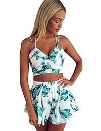 Honeykoko Mujeres Crop Top Y Shorts 2 piezas Culottes Beach Bikini Dresses