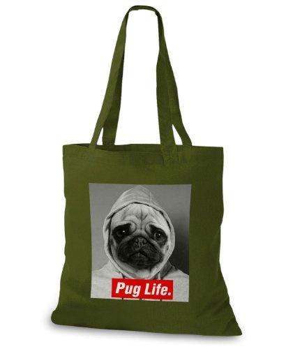 StyloBags Jutebeutel / Tasche Pug Life v3 Khaki