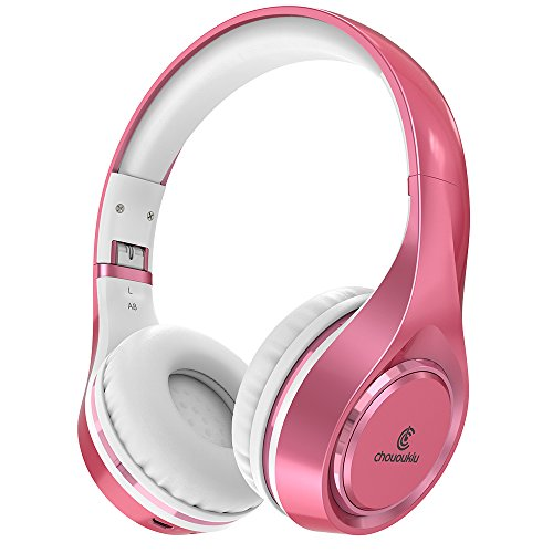 Bluetooth-Kopfhörer auf Ohr, Chououkiu Wireless Headset faltbar Hi-Fi Stereo-Kopfhörer mit Mikrofon In-Line-Lautstärke, kabelgebundene und kabellose Kopfhörer für Handy / TV / PC(Rosé/Gold)
