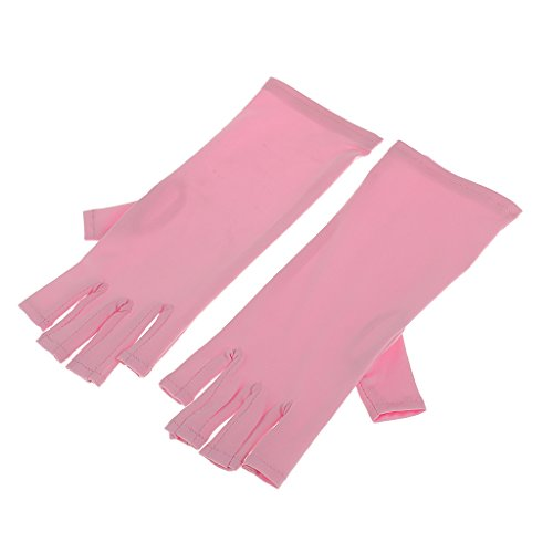 Segolike New Salon Nail Art UV Gel Protection Polish Tips Gloves LED Lamp Anti-Ultraviolet Open-Toed Soft Gloves - Blue/ Black/ White - pink