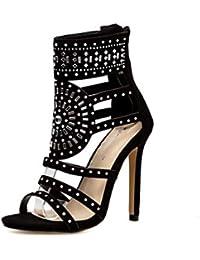 90ee1f1c HRN Sandalias de Mujer Gamuza Boca de Pescado Boca Baja Tacones Altos  Cremallera Lateral Rhinestone Hueco Zapatos Romanos…