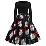Soupliebe Damen Vintage Print Langarm Weihnachts Abend Party Swing Kleid Abendkleider Cocktailkleid Partykleider Blusenkleid
