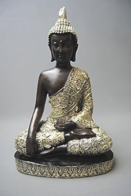 Sitting Buddha Ornament Figure Figurine Champagne Silver with Diamante and glitter Finish