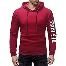 Hanomes Herren Pullover,Herren Herbst Winter Warme Pullover Mode Einfarbig  Brief Drucken Hoodie Casual Fleece a23c7de8f1
