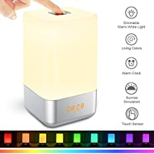 Wake up Licht, Lichtwecker Sonnenaufgangfunktion, 5 Natürlicher Klang LED Nachtlicht 3 Lichtmodus, 7 Farbe, 3-Stufige Helligkeit mit Batterie USB, Touch Control Tischlampen für Kinder Erwachsene
