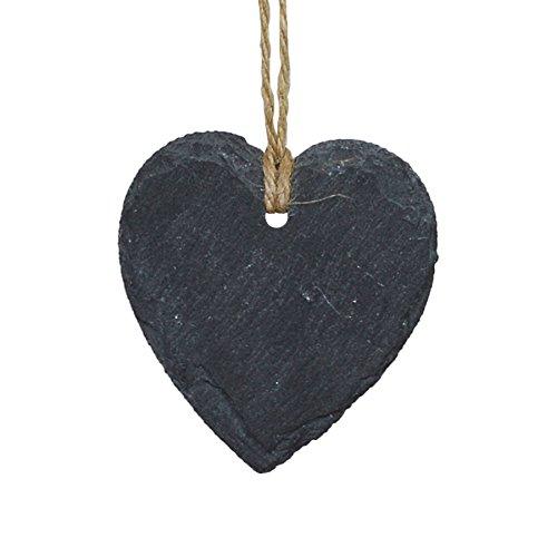 Étiquette en ardoise - en forme de cœur - décoration à accrocher - petite taille