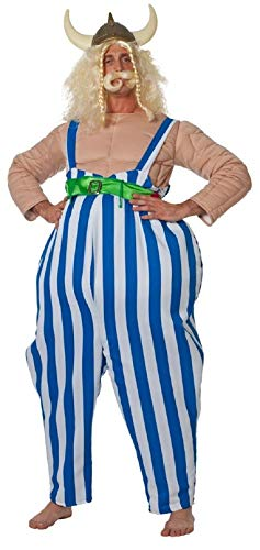 Obelix Kostüm - W5592-50-A blau weiß Herren Gallier Kostüm