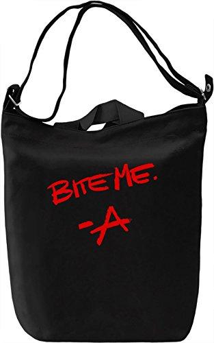Bite Me Signature Leinwand Tagestasche Canvas Day Bag| 100% Premium Cotton Canvas| DTG Printing| (Series-laptop Signature)