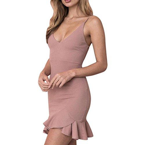 Oyedens Donne Da Spalla Senza Maniche Mini Vestito Decorativo Irregolare Donna Vestito Rosa scuro