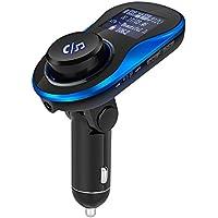 Transmisor FM con Boton de Encendido / Apagado, Manos Libres Bluetooth Transmisor FM Coche, Reproductor MP3 Coche, Adaptador de Radio con 1.44 pulgadas de pantalla, cargadores USB dual 5V / 3.1A
