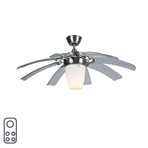 QAZQA Moderno Ventilador de techo con luz y mando a distancia con...