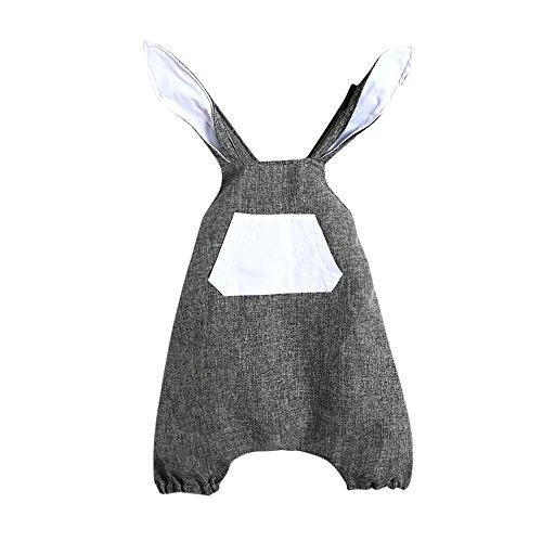 Tyoby Ostern Kleine Prinzessin Bunny Ohr Ärmellos Einteiliger Overall(Grau,80)