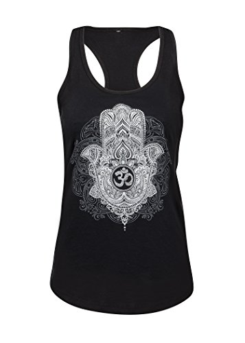 Hand der Fatima Hamsa Hand Om Symbol Damen Yoga Pilates T-Shirt Top – Gr. S