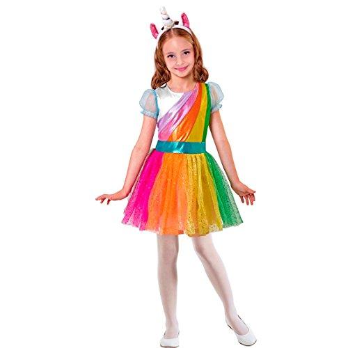 Abito arcobaleno - 135 - 140 cm, 8 - 10 anni | costume dei bambini unicorno | costume colorato per ragazze | vestito carnevale licornio