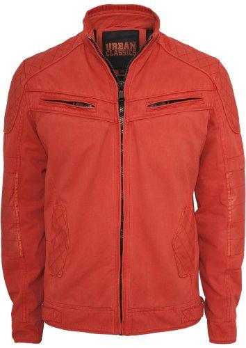 Urban Classics To 562Veste Cotton/Cuir Mix Racer pour Homme Coupe Regular Rouge - Rouge